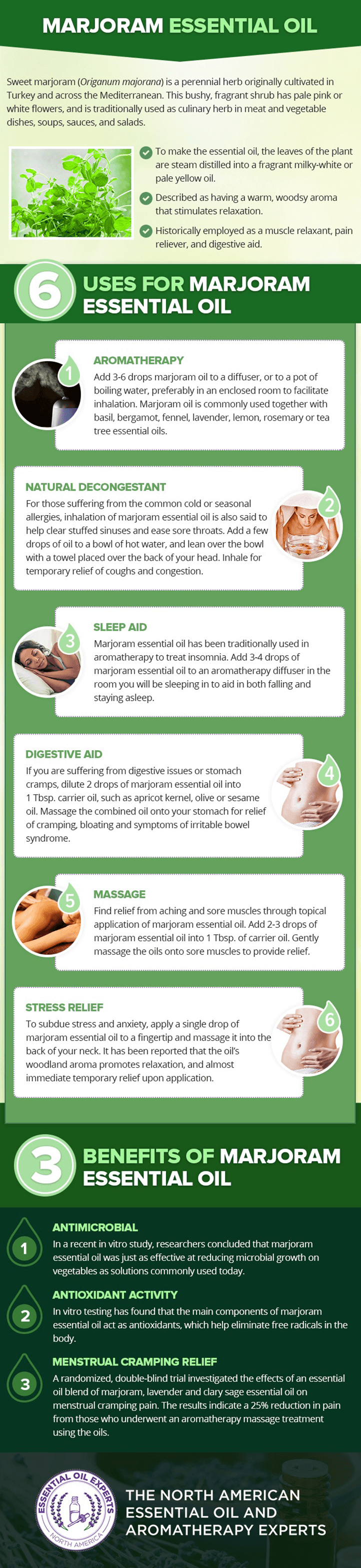 Marjoram essential oil uses and benefits.